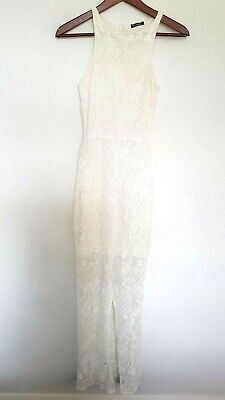 AU35 • Buy Y-LONDON Ladies Designer White Loral Lace Sleeveless Maxi Dress Size XS EUC