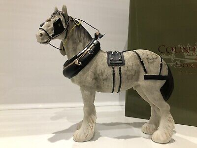 Large Leonardo Grey White Silver Shire Clydesdale Horse Gift Figurine Ornament • 27.45£