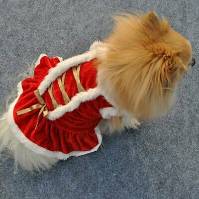 Pet Cat Santa Costume Dog Christmas Small Coat Outfit Clothes Hoodie Jumper Xmas • 5.69£