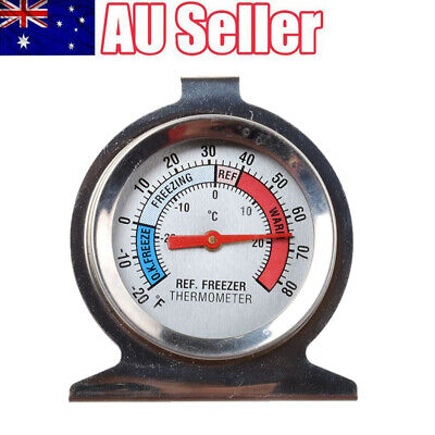 AU10.99 • Buy Refrigerator Freezer Thermometer Fridge DIAL Type Stainless Steel Hang Stand
