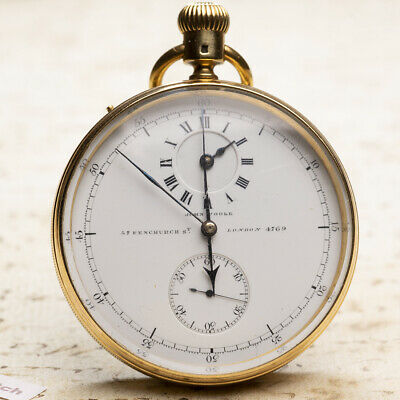 NICOLE & CAPT Early REGULATOR DIAL CHRONOGRAPH 18k GOLD Antique Pocket Watch • 3,286.93£