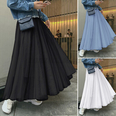 Women Casual Pleated Hight Waisted Skirt Loose Solid Netting Long Skirt Dress US • 12.59£