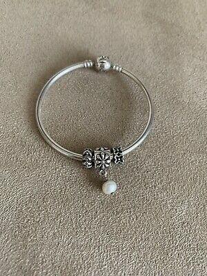 Pandora Bracelet 18cm With 3 Charms, One Pearl And 2 Spacers • 18.60£