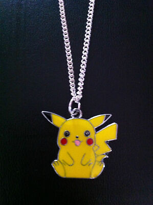 Pokemon Pikachu Pendant Necklace Silver Plated 18  Curb Chain Uk Seller  • 2.50£