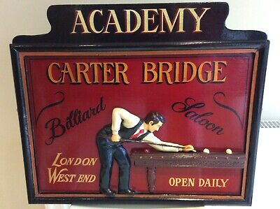 Vintage Pool Snooker Or Billiards Picture, Sign Games Room, Advertising Mancave • 9.99£