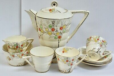 £35 • Buy Hand Painted Art Deco Thomas Forester Phoenix Ware Part Coffee Set,  Tree