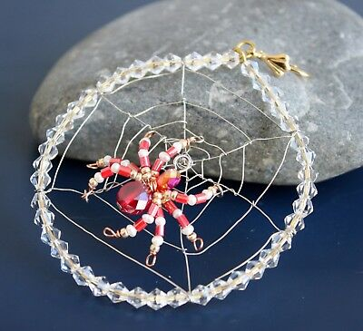 Swarovski Red Crystal Beaded Spider & Net - Tree Decoration / Ornament • 12.99£