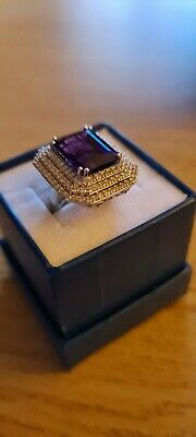 Large Amethyst Ring, With White Topaz, Size Q • 29.99£