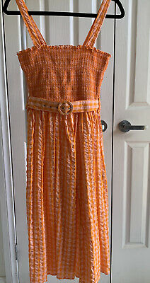 AU23 • Buy ASOS Orange/Pink Gingham Seesucker Cotton Midi Dress Size 8