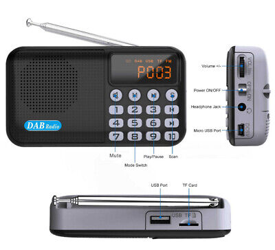 DAB / DAB+ Digital Radio Portable With FM Rechargeable Battery Bluetooth Speaker • 18.99£
