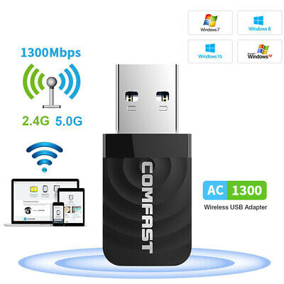 AU14.36 • Buy 1300Mbps USB  3.0 Wireless WiFi Network Receiver Adapter 5GHz Dual Band Dongle