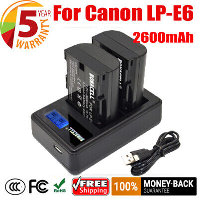 2PCS 2600mAh LP-E6 Battery +LCD Dual Charger For Canon EOS 70D 60D Mark II Cam • 15.49£