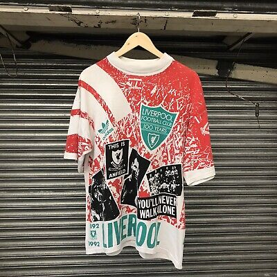 Vintage 90s Adidas Liverpool 100 Years All Over Print T-Shirt Size 38-40 M/L • 200£
