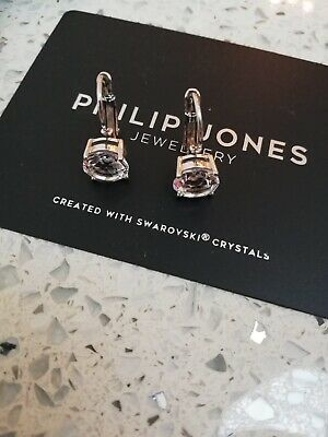 New Philip Jones Clip On Silver Earings Jewellery With Swarovski Crystals • 9.99£