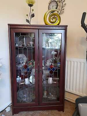 Glass Display Cabinet In Mahogany With Lights • 5£