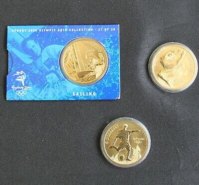 Sydney 2000 Olympic Uncirculated A$5 Coin Collection/Sailing/Football/Gymnastics • 10£
