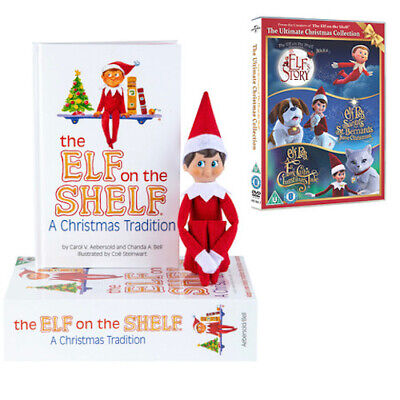 Elf On The Shelf Christmas Tradition Light/Dark Skin Boy/Girl Elf & Triple DVD • 29.94£