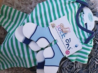 BNWT ~Baby Pair Sock Ons 0-6 Months & Up To 9lbs 1st Size Vest Top E9 • 3.20£