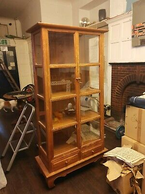 Handcrafted Wooden Teak Display Cabinet From Thailand • 10£