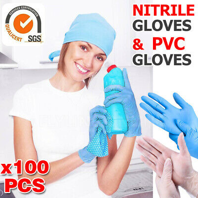AU15.85 • Buy 100pcs Clear Vinyl Blue Nitrile Glove Disposable Powder Free Latex Free Gloves S