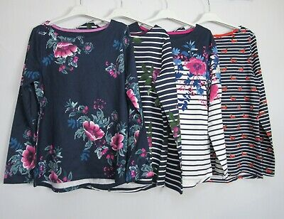 New Joules Long Sleeve Harbour Print Floral Striped Dog Print T Shirt Top 8 - 14 • 12.99£