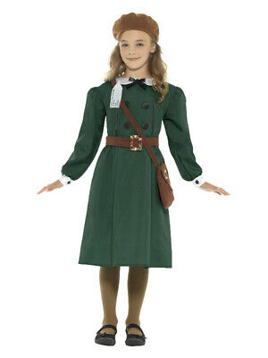 WW2 Evacuee Girl Costume, Green • 16.57£