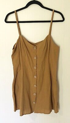 AU24 • Buy URBAN OUTFITTERS - Mustard Yellow Linen Dress Size L 10-12 BNWOT RRP $111
