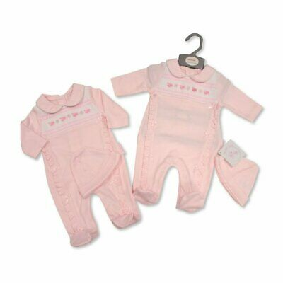 Baby Girl Spanish Romany Style Smocked Pink Chick Sleepsuit Hat NB 0-3 3-6 Month • 12.99£