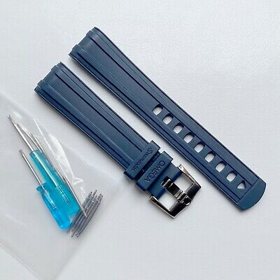 20mm Rubber Strap BLUE Watch Strap For Omega Seamaster 300. • 31£