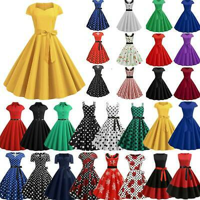 £12.39 • Buy Womens 50s 60s Rockabilly Pinup Hepburn Dress Cocktail Party Swing Skater Dress