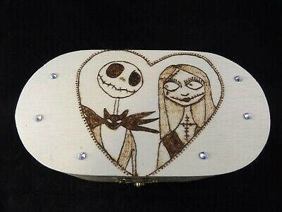 Small Wooden Keepsake Box With Nightmare Before Christmas Pyrography Ideal Gift • 6£