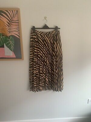 Topshop Animal Print Midi Skirt With Leg Split Size 12 Perfect Condition • 7£