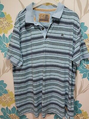Marks And Spencer North Coast Size L Blue Striped Short Sleeve Polo Shirt • 1.10£