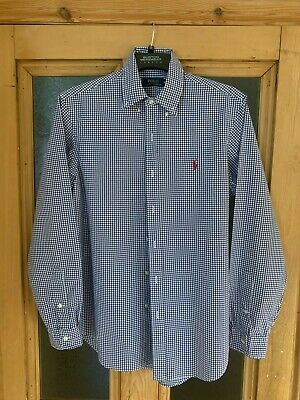 Mens Ralph Lauren Navy Gingham Long Sleeve Shirt (M) • 5.60£
