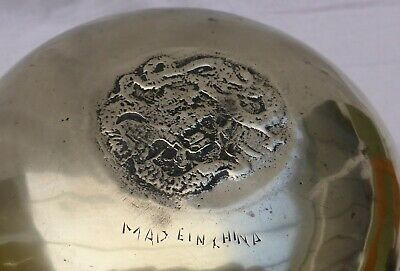 Vintage/antique Heavy Chinese Etched Brass Deep Bowl • 19.99£