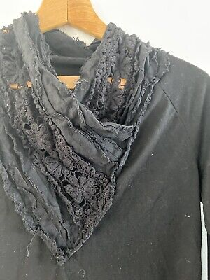 Size 12 Black Joe Browns Top With Exotic Lace Garter Scarf Design Collar Top • 10£