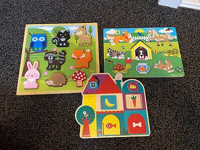 Bany Toddler Wooden Puzzle Shape Toys From Melissa & Doug And Janod • 3.20£