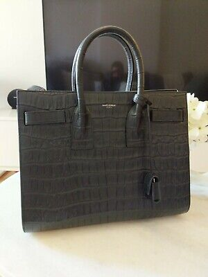 AU3500 • Buy AS NEW Saint Laurent YSL Bag Small Sac De Jour Black Crocodile Croc Stamped