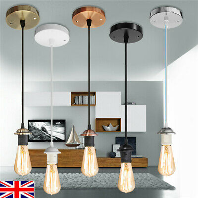 Vintage E27 Ceiling Pendant Cord Flex Hanging Lamp Holder Light Bulb Fitting Set • 6.39£