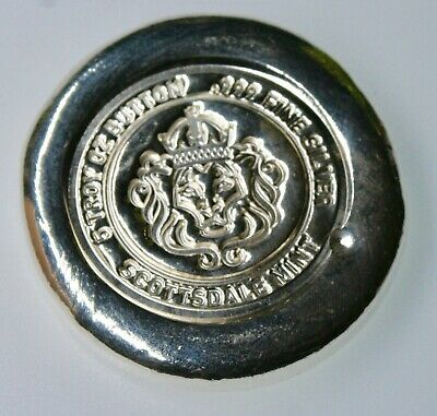 $ CDN202.91 • Buy 5 Oz. Scottsdale Mint Poured Button Round .999 Silver