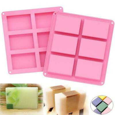 6 Cavity Pink Cute Silicone Rectangle Mould Homemade Making Soap Mold UK • 3.84£