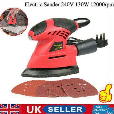 Electric Detail Mouse Palm Hand Sander 130w Sanding Polishing Machine Sandpapers • 18.90£