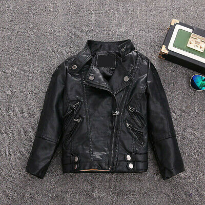 Girls Kids Boys Baby Jackets Coat Leather Zipper Motorcycle Cool Biker Outercoat • 18.88£