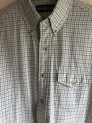 Mens Polo Ralph Lauren Cream Gingham Slim Fit Long Sleeve Shirt Size Medium • 15£