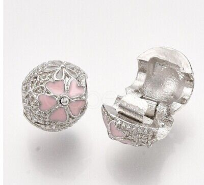 £6.95 • Buy Silver Plated Pandora Or European-Fit Crystal Flower Charm Bead Clip Stopper UK