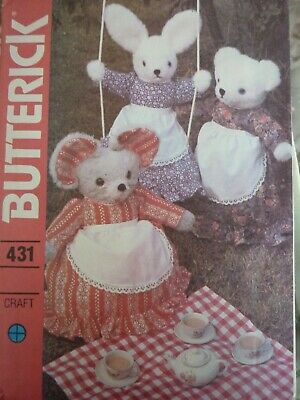 Uncut Vintage 1970's Butterick Stuffed Animals & Clothes Sewing Pattern • 4.99£