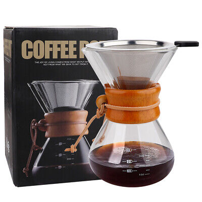 Classic Glass Hand Drip Coffee Maker Pot Chemex Style Pour Over 400ml Filter • 15.16£