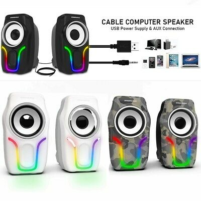£18.89 • Buy USB 3.5mm PC Surround Sound System LED Speakers Game Deep Bass Desktop Computer
