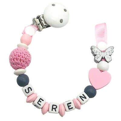 Dummy Clip Personalized Wooden Bead Pacifier Holder Soother Chain Baby Girls 1pc • 7.90£