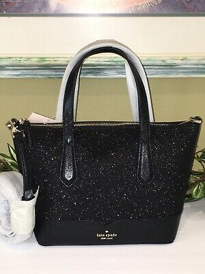 $ CDN124.35 • Buy Kate Spade Lola Glitter Satchel Crossbody Shoulder Bag Black Sparkling